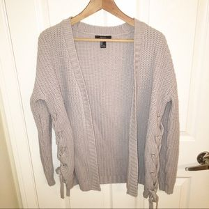 Forever 21 side laced light grey cardigan
